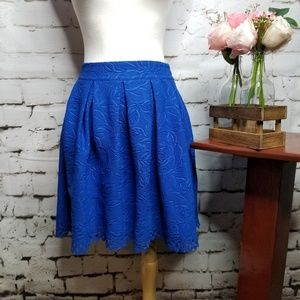 Francescas Mi A Mi Burnout Pleated Blue Mini Skirt